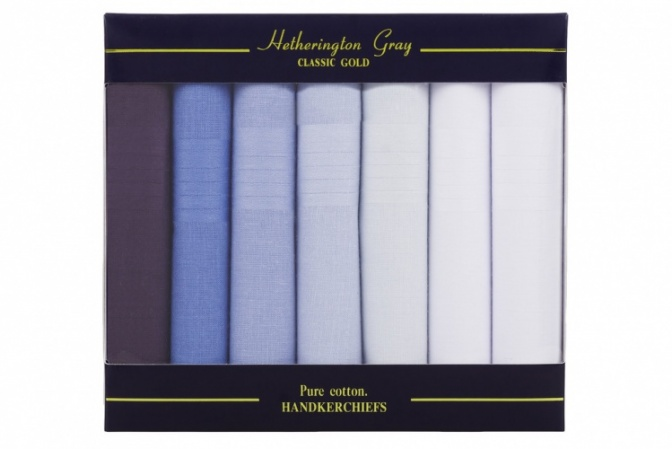 7 Pack Mens Mixed Blue and White Handkerchiefs